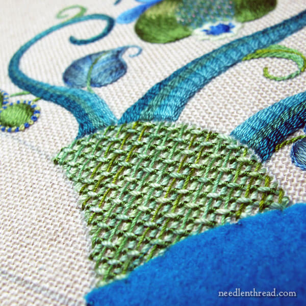 Modern Crewel: embroidery project progress
