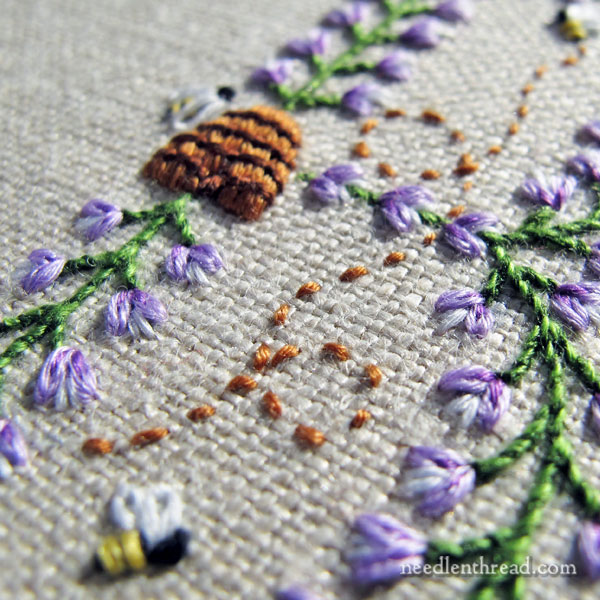 Bees and Blossoms Monogram - B - hand embroidery on Needle 'n Thread