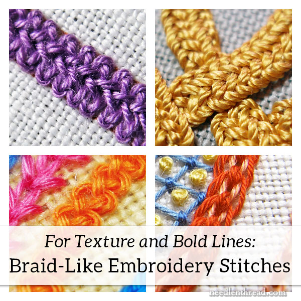 Embroidery Stitches, Braided, for texture and bold lines
