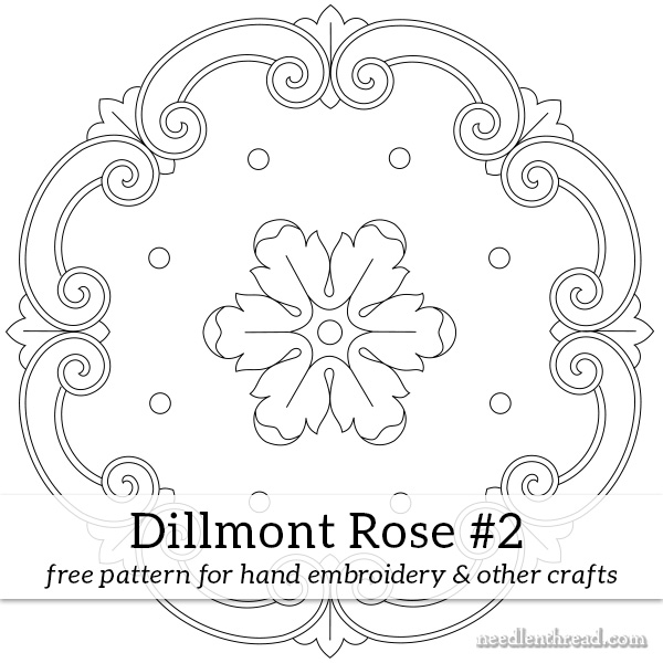 """Dillmont Rose #2"" Free Stitchery for Quilting Pattern designed by Mary Corbet from Needle 'n Thread"