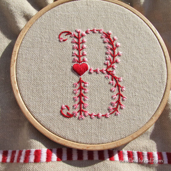 Heart Monogram B - Hand Embroidery on Needle 'n Thread