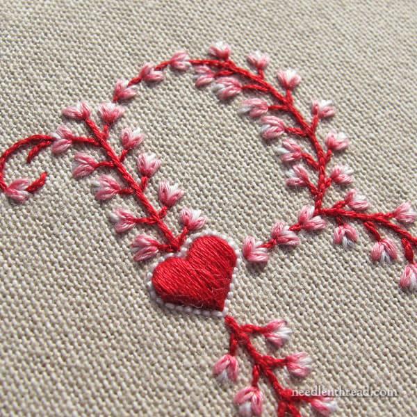 Heart Monogram B - Hand Embroidery on Needle 'n Thread