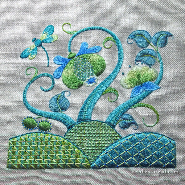 Modern Crewel Embroidery Design, Finished