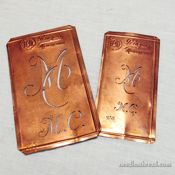Copper monogram stencils for hand embroidery