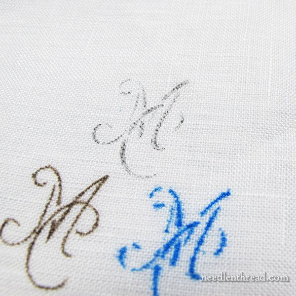 Transferring monogram stencils to fabric using pens and pencils