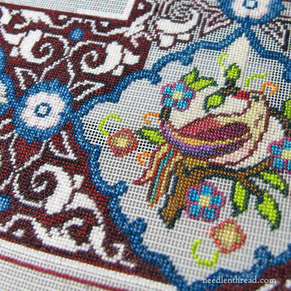 Miniature Tree of Life Tapestry in petit point on 56-count silk gauze