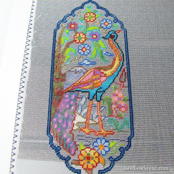 Peacock Panel, Miniature Tree of Life tapestry embroidery