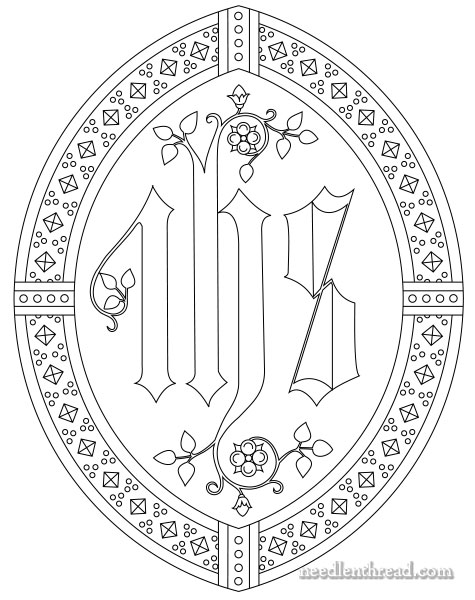 IHS ecclesiastical embroidery pattern