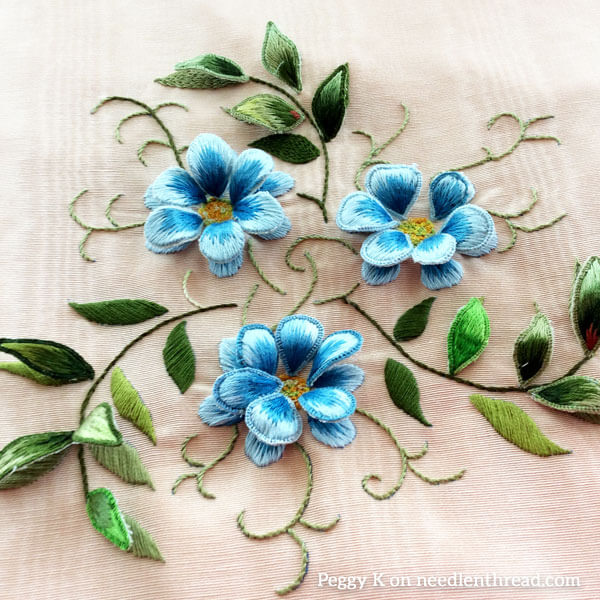 Free Embroidery Pattern as Stumpwork Flowers
