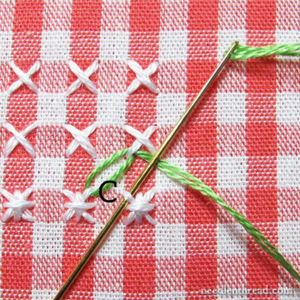 How to stitch a leafy border in chicken scratch embroidery