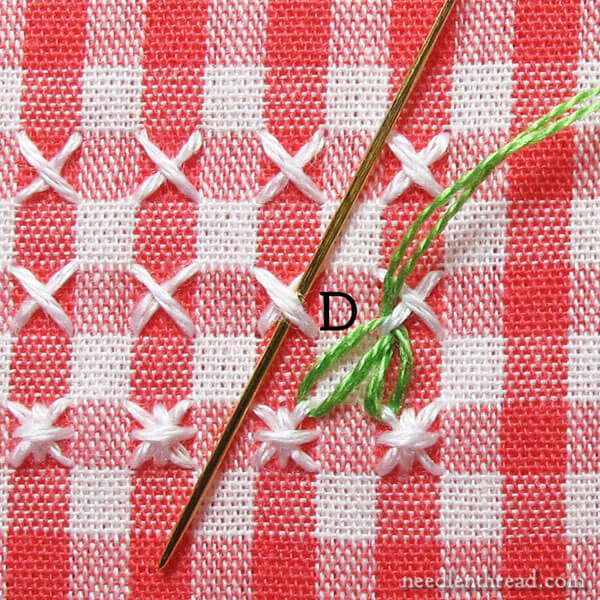 How To Stitch A Leafy Border In Chicken Scratch Embroidery On