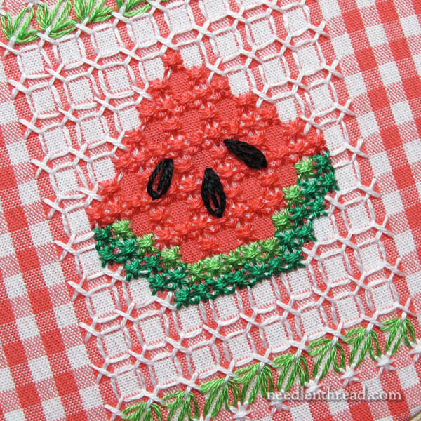 Gingham Embroidery Watermelon Tutorial