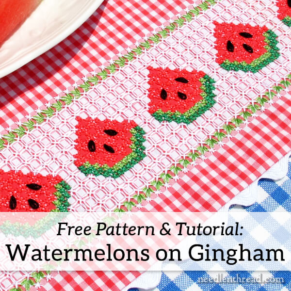 Gingham embroidery watermelons free pattern