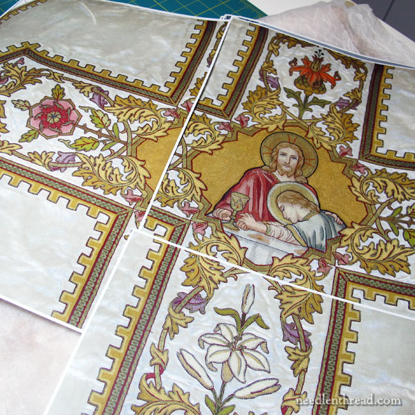 Embroidered Vestment Repair: Silk embroidered figures