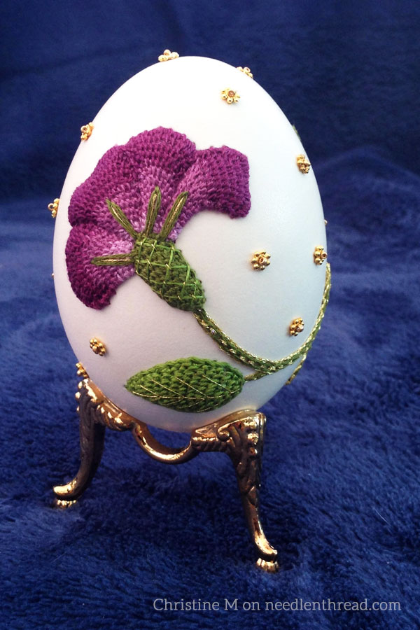 Hand Embroidery on Eggs - Raised Embroidery