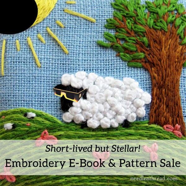 Sheep on a Sunny Hill in an Eclipse - Embroidered Little Things