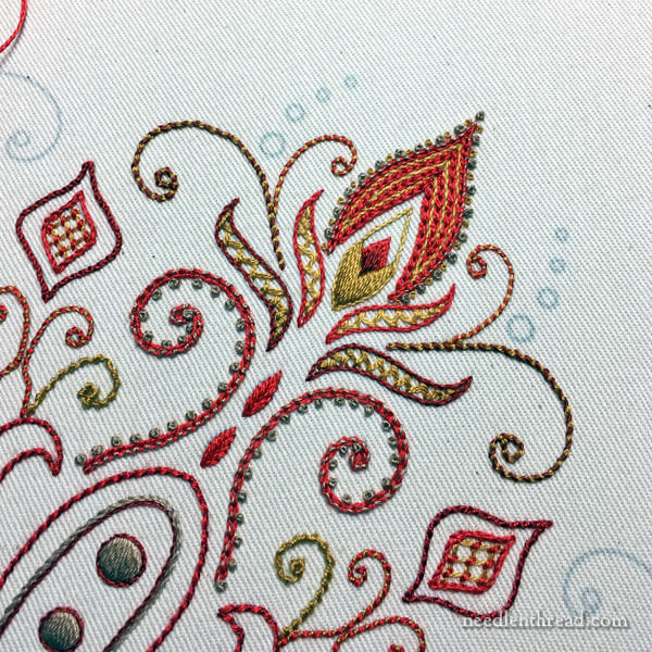 hand embroidery for the pocket of a tote bag