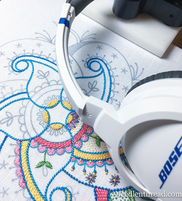 Embroidery and Listening: sources for audio entertainment while stitching