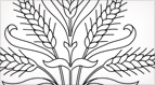 Stylized Wheat Hand Embroidery Pattern