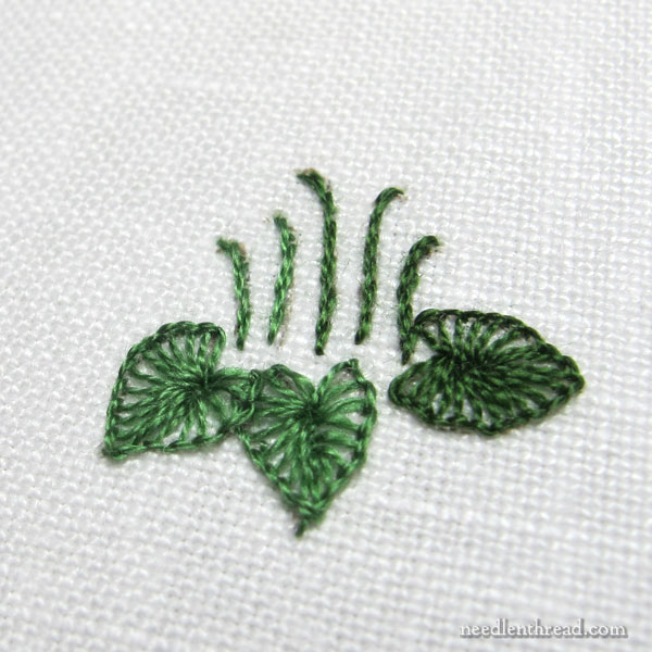 Buttonhole Stitch flower leaves