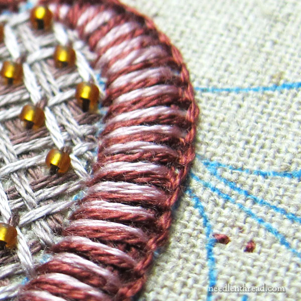 Buttonhole Stitch on a Flower - shaded filling