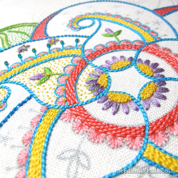 embroidered kaleidoscope paisley design