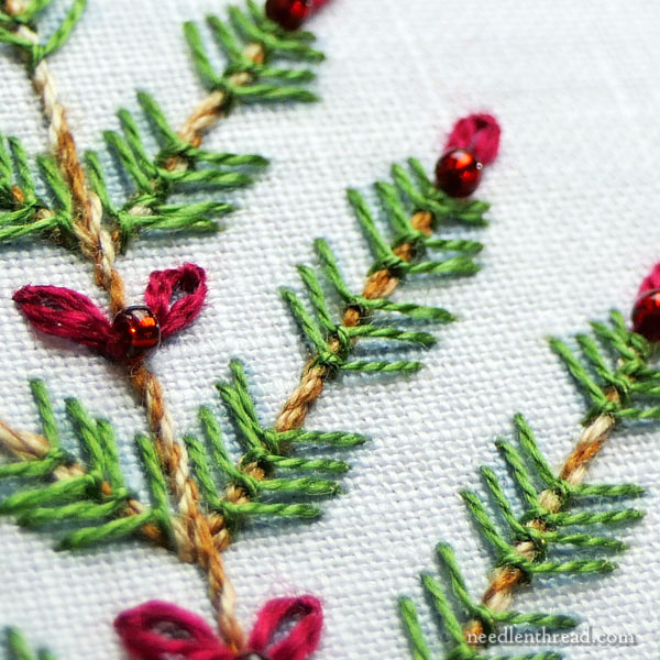 Hand Embroidered trees for Christmas on Needle 'n Thread