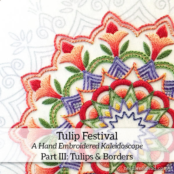 Tulip Festival - Embroidered Kaleidoscope - long & short stitch shading