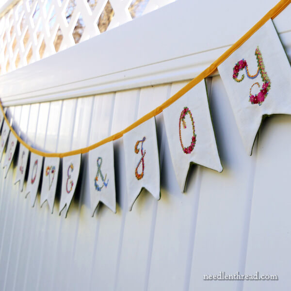 Peace, Love & Joy - Pennant Banner with Embroidery
