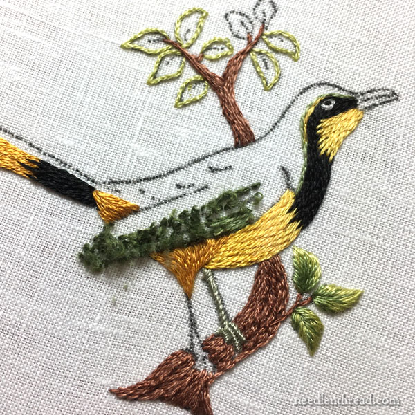 Needlepainting embroidery: small bird kit from Maison Noel