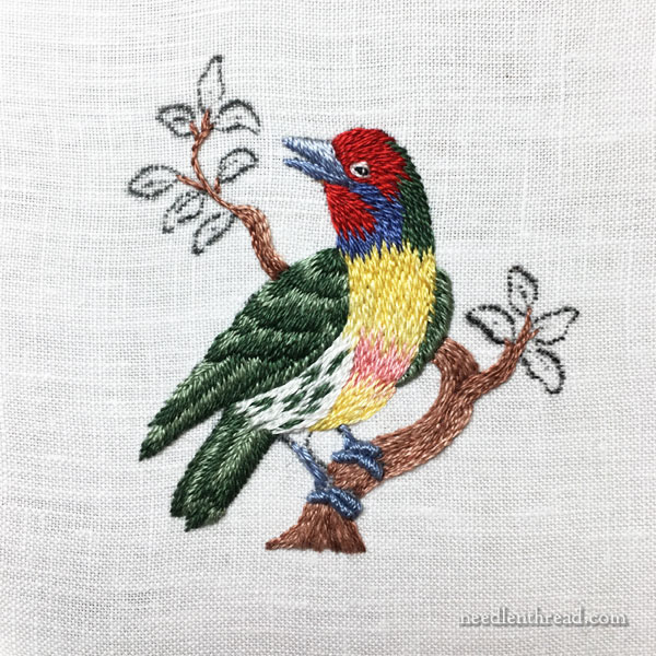Needlepainted miniature bird