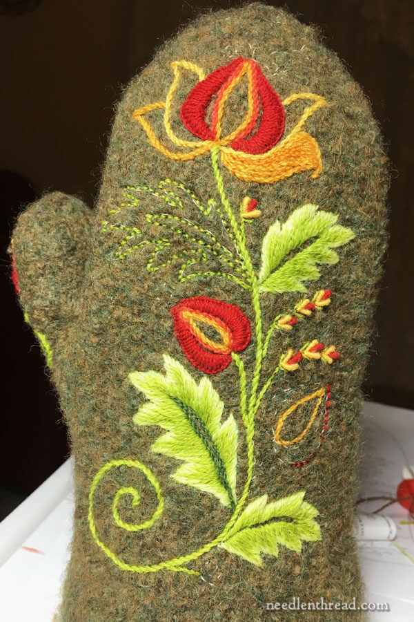 hand embroidery on wool felted mittens