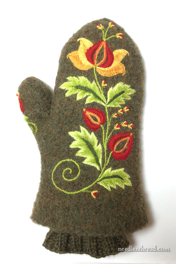 Embroidered Felted Wool Mitten