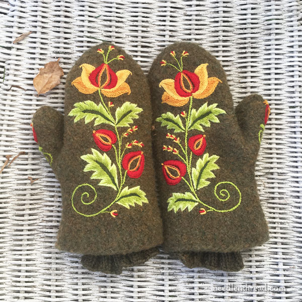 Embroidery on Felted Wool Mittens