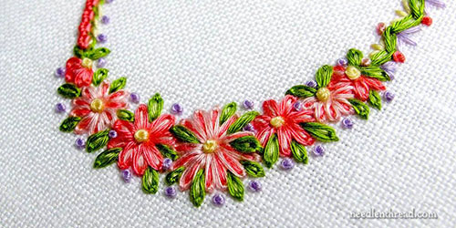 Flowers embroidered with cotton floche