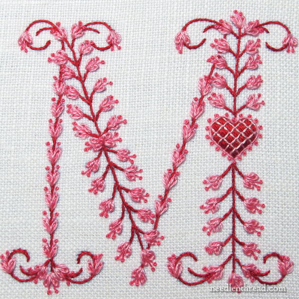 Monogram M with heart, embroidered