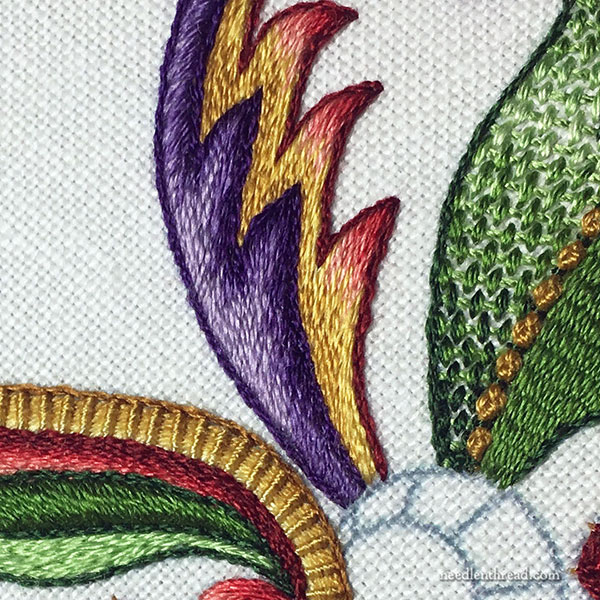 Silk Embroidery Project - Other Side with Purple & Gold Leaf