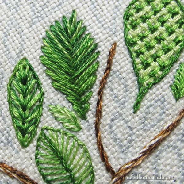 Leafy Sampler - embroidery stitches in leaves