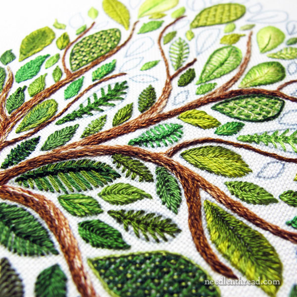 Leafy Tree Embroidery Sampler - stitches and leaves