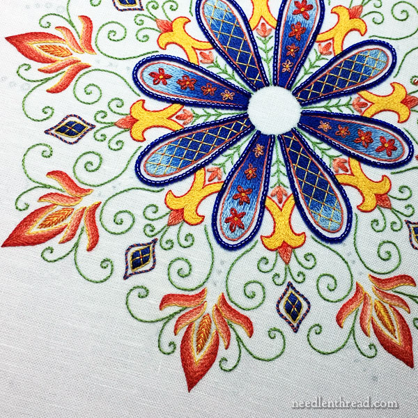 Party in Provence embroidered kaleidoscope medallion accent