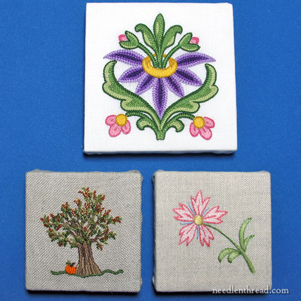 Finishing small embroidery samples for display