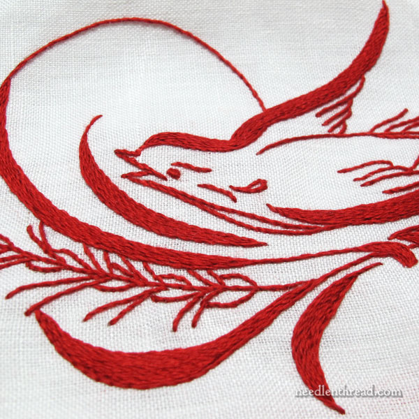 Penbroidery Bird in Redwork Embroidery