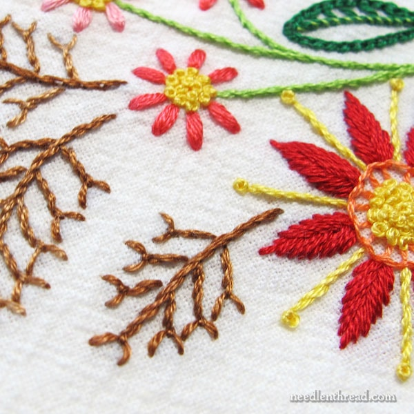 Floral Corner embroidery on flour sack towels