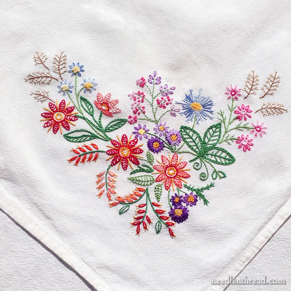 bec7a81d126e A Friday Finish – or Two! Embroidered Floral Corners – NeedlenThread.com