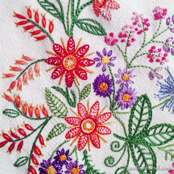 Hand Embroidery Floral Corner on Flour Sack Towel