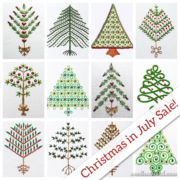 12 Trees for Christmas embroidery projects