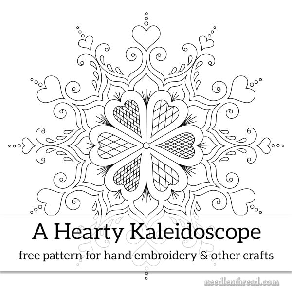 Heart Kaleidoscope pattern for hand embroidery - free embroidery design
