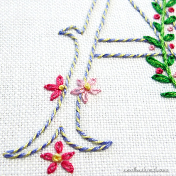 simple floral embroidered monogram