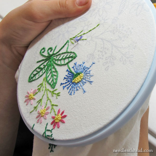 Embroidery in progress on flour sack towel