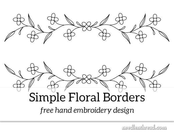 Simple flower border for hand embroidery - free design